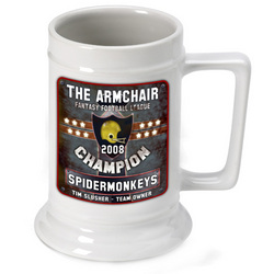 Personalized Fantasy Football Champion Beer Stein