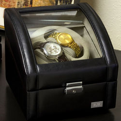 Personalized 2 Watch Winder with Glass Face