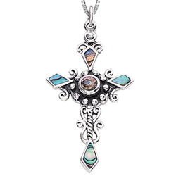 Silver Cross Pendant with Shell