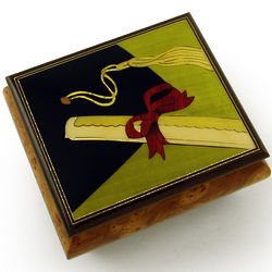 Graduation Cap with Diploma Wood Inlay Music Box
