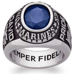 Men's Celebrium Oval Birthstone Military Ring