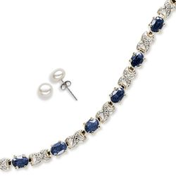 Sapphire and Diamond Tennis Bracelet with Pearl Stud Earrings