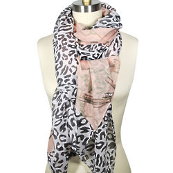 Pink Leopard and Chain Print Scarf