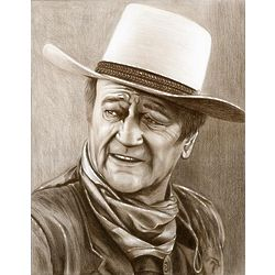 John Wayne Pencil Sketch Print