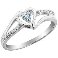 Aquamarine Heart Promise Ring with Diamonds