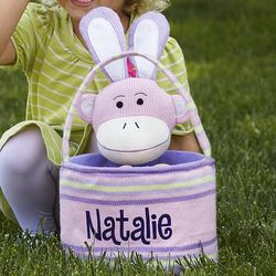 Personalized Sock Monkey Easter Bunny Basket