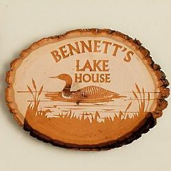 Lake House Personalized Pine Wood Log Sign
