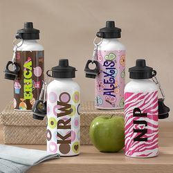 Girl's Personalized Playful Print Water Bottle