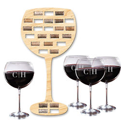 Wine Glass Wine Cork Holder Bar Sign & Personalized Wine Glasses