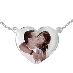 Heart Shaped Color Photo 10k White Gold Necklace