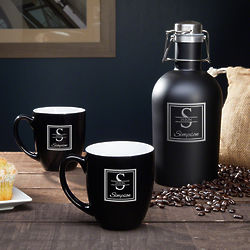 Oakhill Personalized Stainless Steel Coffee Carafe & Mugs