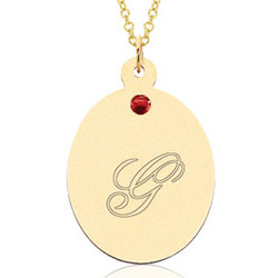14k Yellow Gold July Birthstone Ruby Oval Engravable Pendant