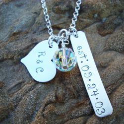 Established Love Hand Stamped Sterling Necklace