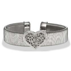 Filigree Diamond Heart Ribbed Cuff Bangle in Stainless Steel
