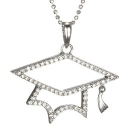 Diamond Graduation Cap Pendant in 14k White Gold