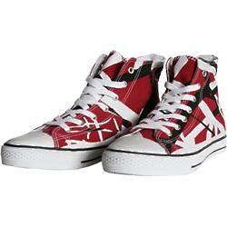 Eddie Van Halen High Top Sneakers in Red, Black, and White