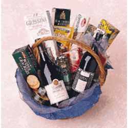 Gold Gourmet Wine Gift Basket