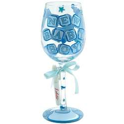 New Baby Boy Personalized Wine Glass