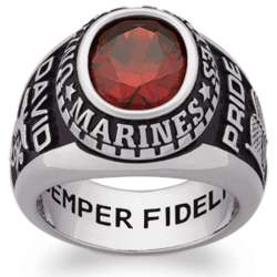 Men's Sterling Silver Oval Birthstone Military Ring