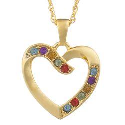 Multicolor Crystal Heart Necklace