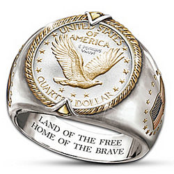 Men's US Standing Liberty Eagle Quarter Ring