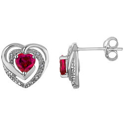 Created Ruby Heart Earrings with Diamonds