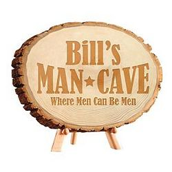 Man Cave Personalized Pine Wood Log Sign