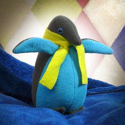 Fleece Penguin Stuffed Animal with Scarf