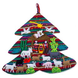 Andean Christmas Tree Applique Wall Hanging