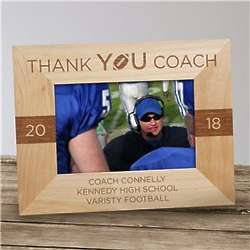 Personalized Thank You Coach Two Tone Wood Picture Frame