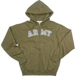 Vintage OD Army Zipper Hooded Sweatshirt