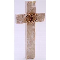 Wedding or Anniversary Jerusalem Stone Wall Cross