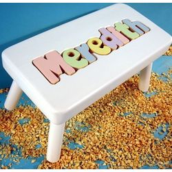 My Personalized Name Puzzle Stool in White Finish