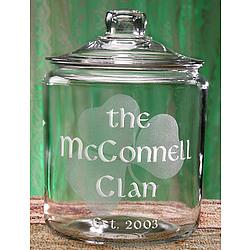 Personalized Irish Shamrock Glass Cookie Jar