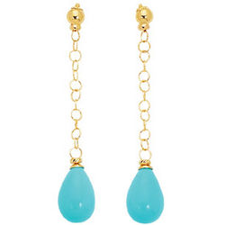 Turquoise Drop Earrings in 14k Yellow Gold