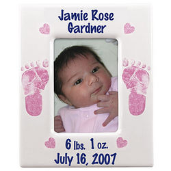 Personalized Girls Birth Photo Frame with Footprints