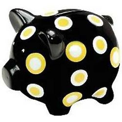 Black and Yellow Polka Dot Piggy Bank