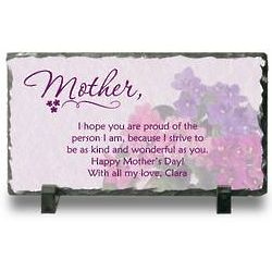 Mother's Personalized Floral Slate Plaque