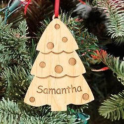 Personalized Wood Cut Out Christmas Tree Ornament