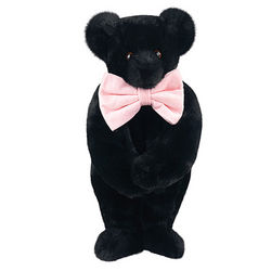 Classic Black Teddy Bear with Bow Tie