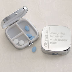 Engraved Silver Personalized Pill Box