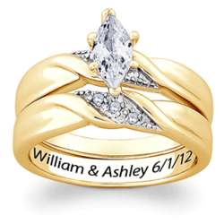 Gold-Plated Engraved Marquise Cubic Zirconia Wedding Ring