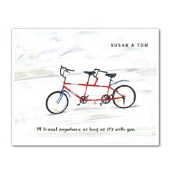 Red Tandem Bike Personalized Art Print