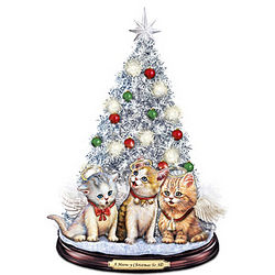 Tabletop Christmas Tree With Singing Jingle Cats