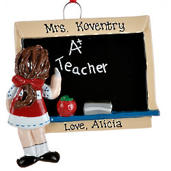 Personalized A+ Teacher Girl Christmas Ornament