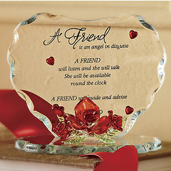Glass Heart for Friend Plaque