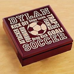 Personalized Wood Soccer Trinket Box