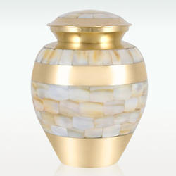 Small Brass Mother of Pearl Cremation Urn