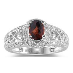 Diamond and Garnet Ring in 14K White Gold