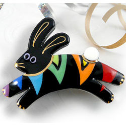 Leaping Rainbow Rabbit Pin